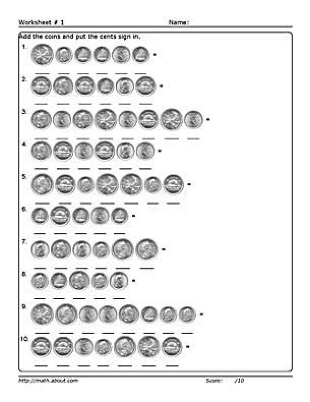 Adding Money Worksheets Worksheet 1 Adding Coins To 1 00 Money Math Money Math Worksheets Money Worksheets Canadian money worksheets grade pdf