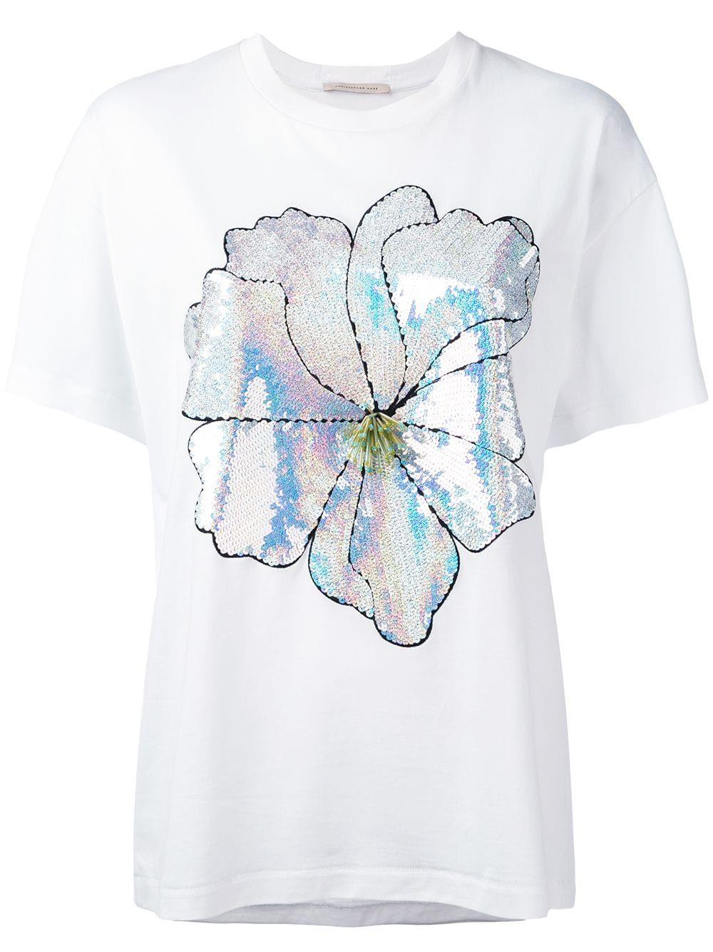 cb9589d20f Christopher Kane large sequin flower T-shirt - White in 2019 ...