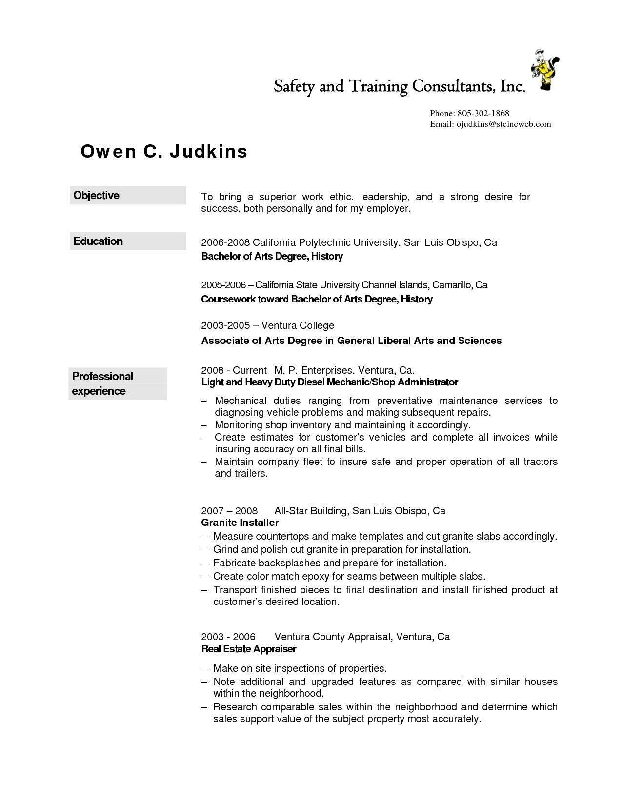 Resume Examples Diesel Mechanic , ResumeExamples Resume