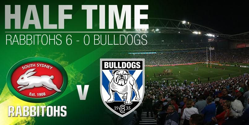 HALF TIME! The Rabbitohs go in leading the Bulldogs 6-0 in the 2014 NRL Grand Final! #GoRabbitohs #NRLGF
