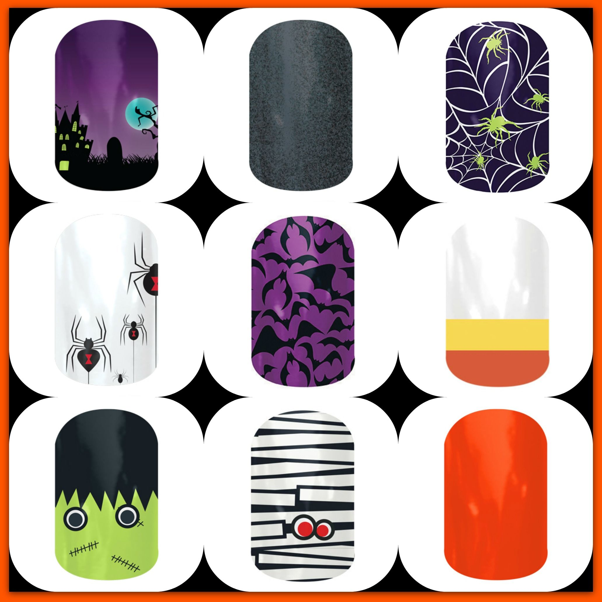 Halloween nails! Jamberry makes nail art so easy ...