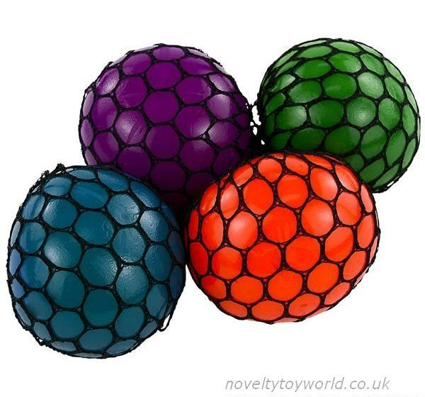 A squeeze ball covered with a mesh net that when squeezed resembles a bunch of grapes. An ...