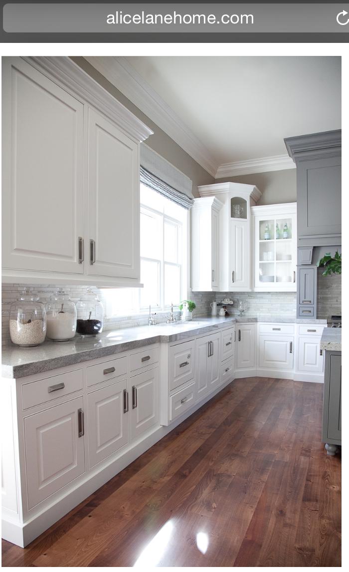 Love The Wood Grey White Kitchen Counter Idea White Kitchen