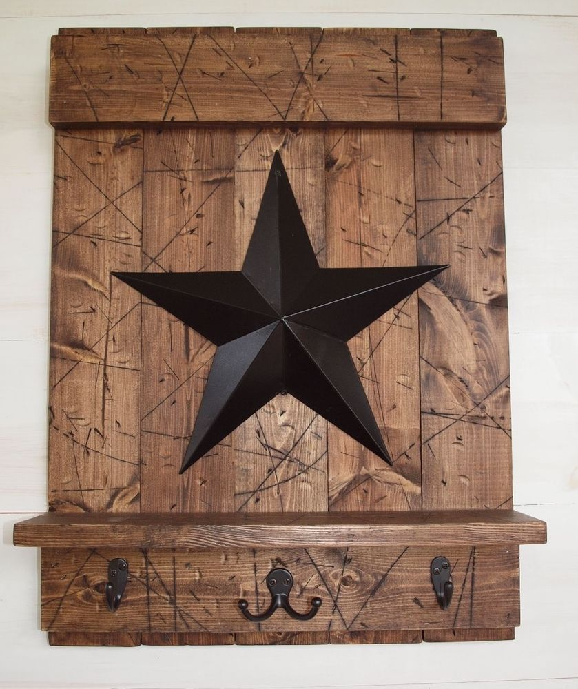 Rustic Country Brown Wood Shelf W/ Hooks & Black Barn Star