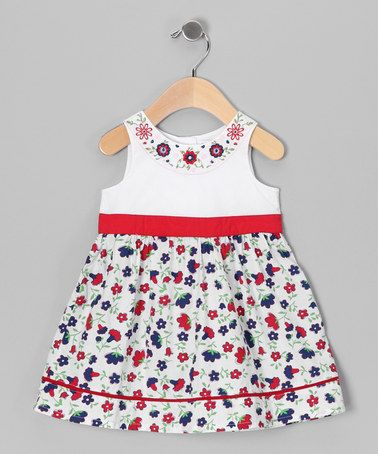 Take a look at this Red & Blue Floral Dress - Infant, Toddler & Girls by Beebay on #zulily today!