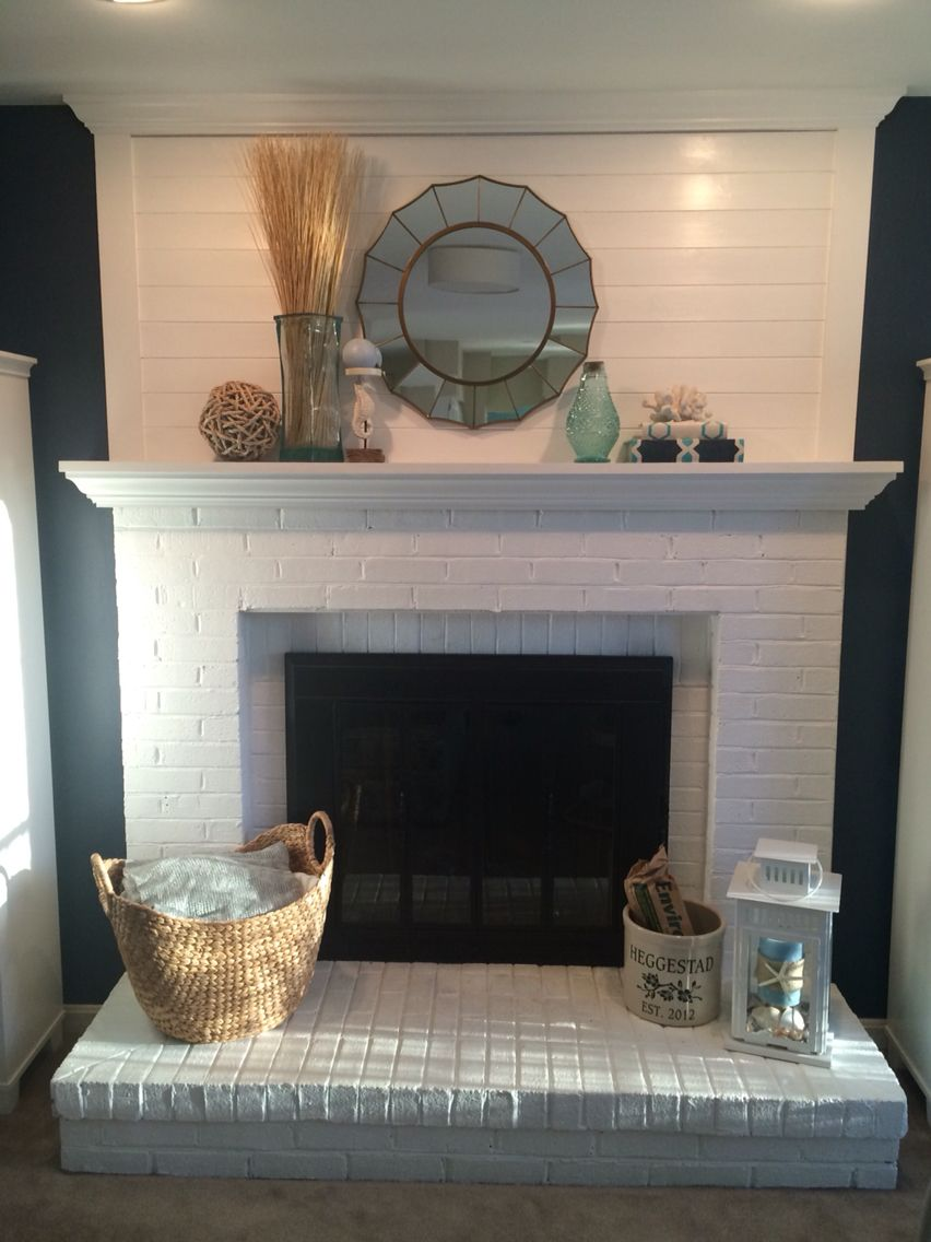 Shiplap Fireplace Makeover Painted Fireplace White Painted Brass Black Added Shiplap And Moulding Ne Paint Fireplace Freestanding Fireplace Shiplap Fireplace