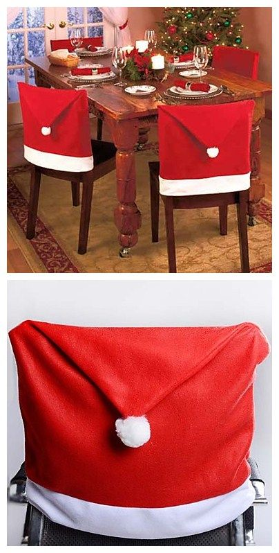 santa chair covers sets black mat set of 4 red hat christmas decorations dinner it s never too early to start plan your party stock up these cute as there great deal on lightinthebox now