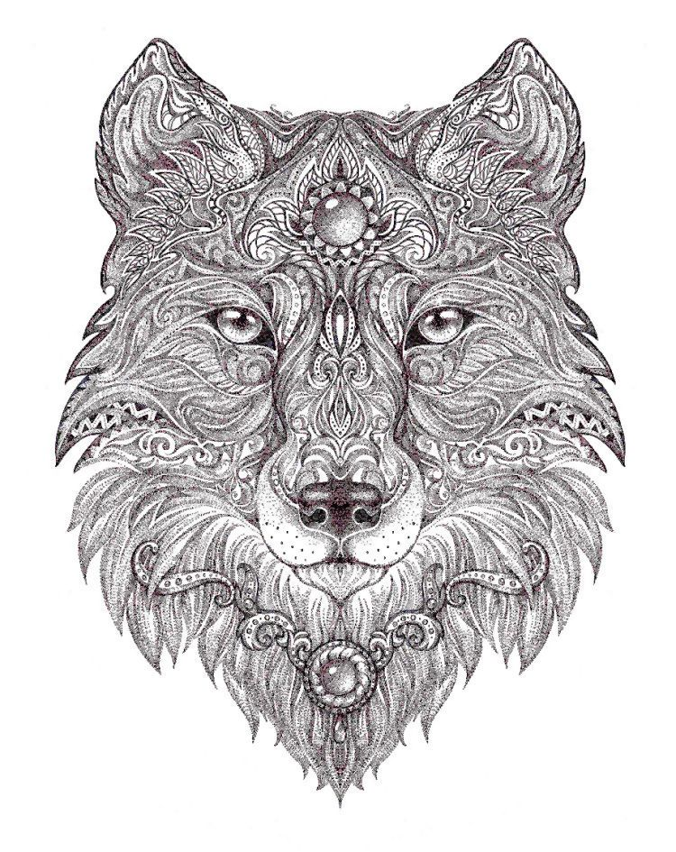 wolf coloring page mandala coloring pages detailed