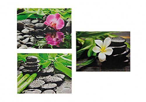 3 bilder orchidee steingarten bambus je 30cm x 40cm feng shui, Garten Ideen