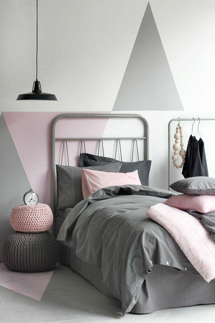 Nos Astuces En Photos Pour Peindre Une Pièce En Deux Couleurs - Chambre adulte rose et gris
