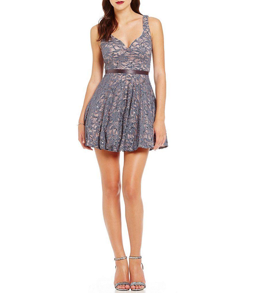B darlin sequin lace vneck skater dress dresses short