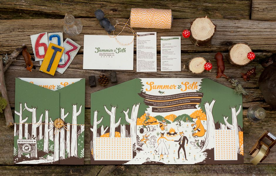 Local freelance designer, Mike Casebolt, submitted these wedding invitations for his client, Summer and Seth. These were printed at our local favorite shop, Mama's Sauce.    We love them. They're fun and unique, and not what you'd expect. We also love the way the submission was presented. Well done.    Mike has a lot of great work on his site as well. Check it out at http://www.caseboltdesign.com