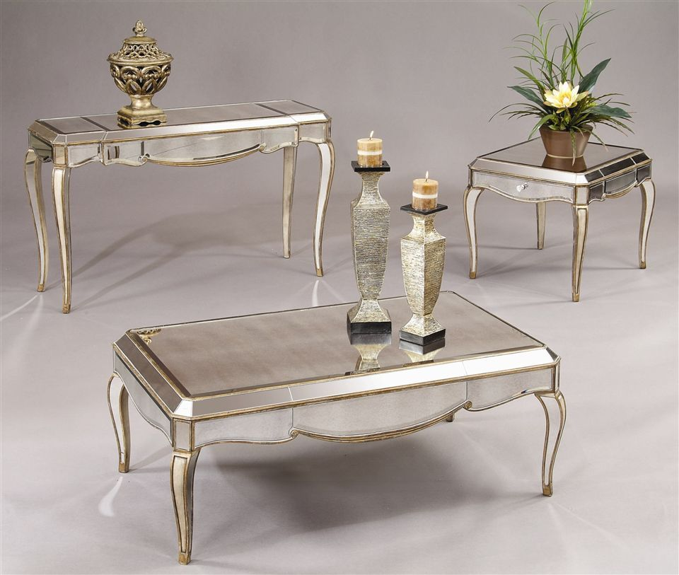 Bassett Mirror 3 Pc Mirrored Table Set W Gold Silver Tone