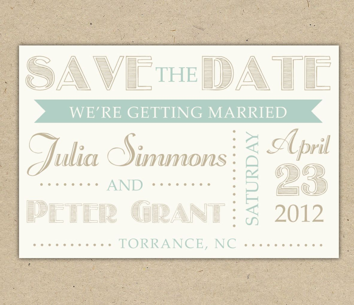 Save the date custom printable template vintage by for Free vintage save the date templates