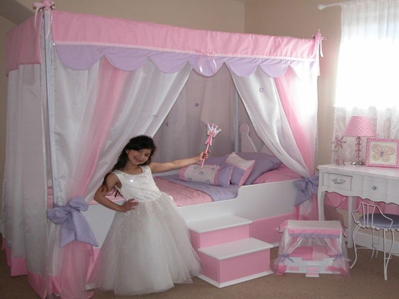 Princess Bed Girls Bed Canopy Kids Bed Canopy Childrens Bedroom Wallpaper