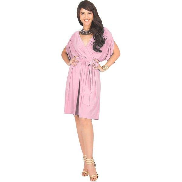 KOH KOH LOUISA - Batwing Sleeve V-Neck Semi Formal Midi Dress (880 ... 3430f87e5