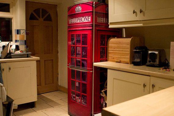 FridgeWrap: Red UK Telephone Box Vinyl Cover for