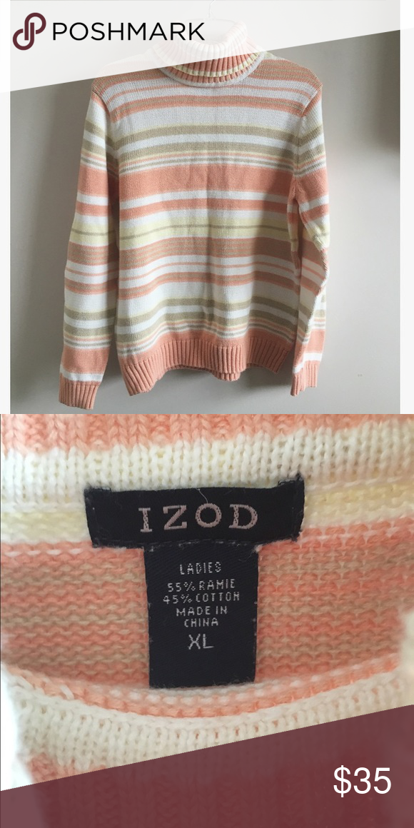 Peachy Striped Turtleneck This adorable chunky turtleneck is awaiting a loving owner this winter! Loving the pastel stripes and warmth of this sweater! Tagged XL, but best fits medium-large. Also looks great oversized! Listed UNIF for exposure UNIF Sweaters Cowl & Turtlenecks