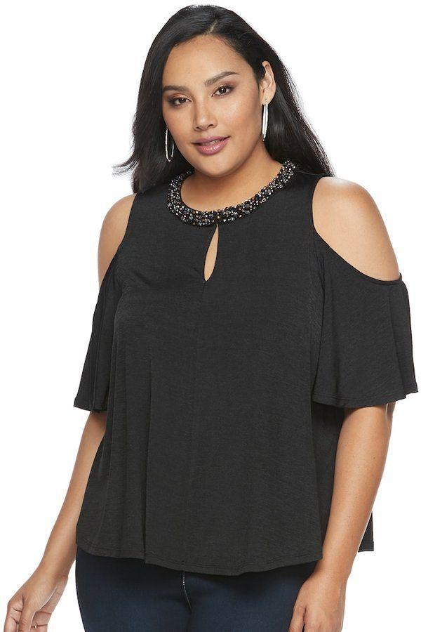 2bd1cf720b053 JLO by Jennifer Lopez Plus Size Embellished Cold-Shoulder Top