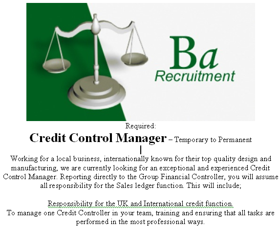 Looking for a Credit Control Manager Job? Get in touch today at http://www.companyjobdirect.com
