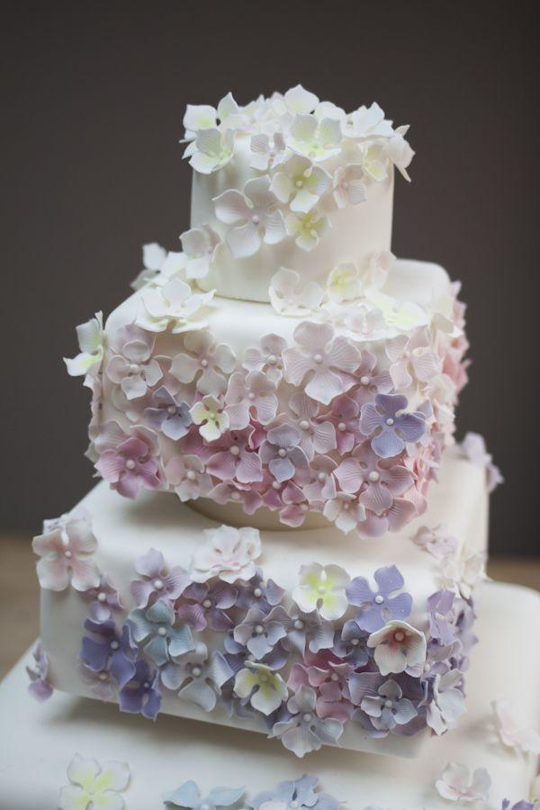 Pastel Cascading Hydrangea Wedding Cake