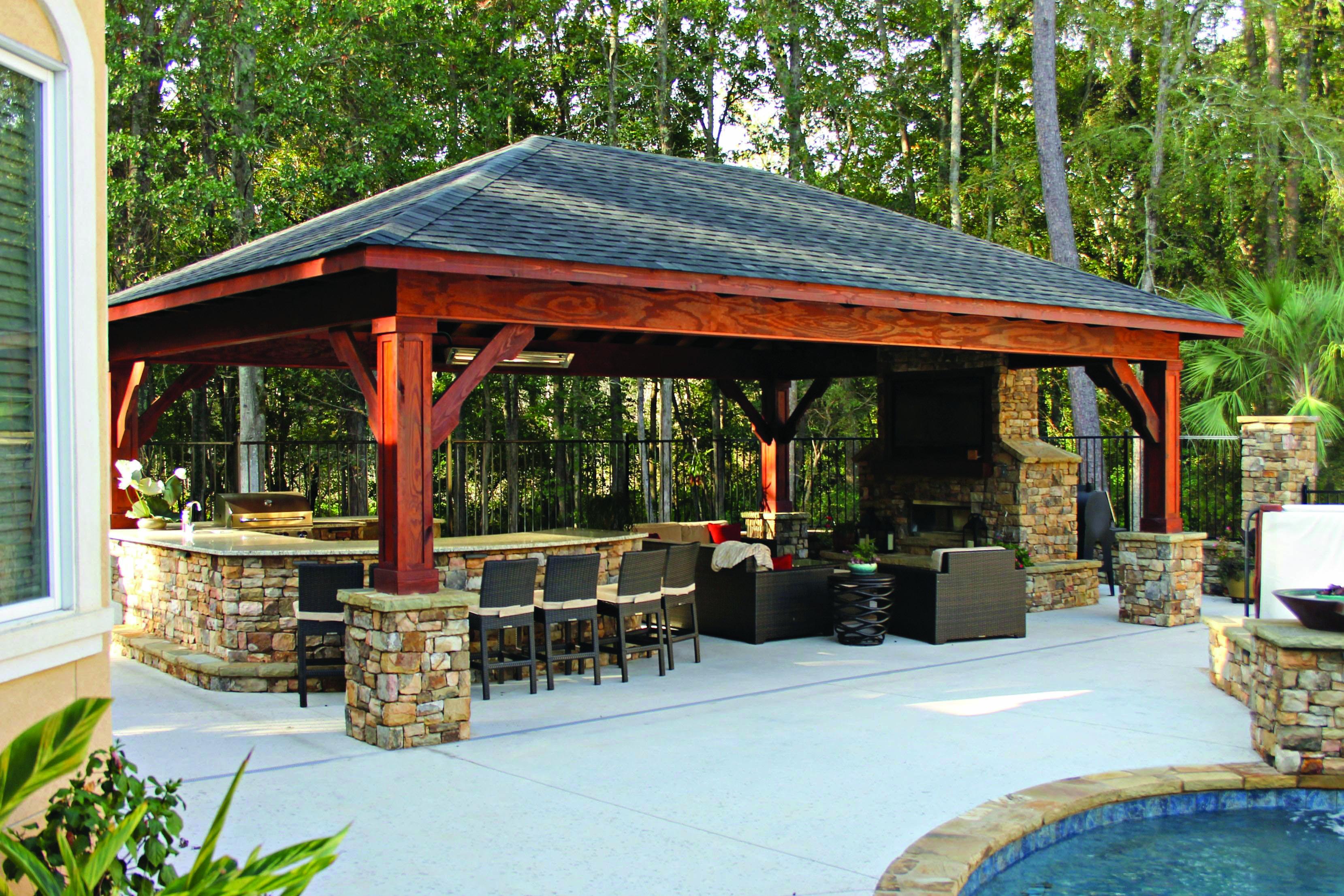 Fire Place Design Concepts For An Elegant Exterior Space Homes Tre Patio Design Backyard Pavilion Outdoor Kitchen Patio
