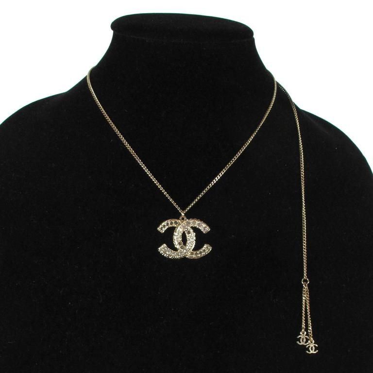 Chanel Crystal Necklace - 2013 Gold CC Logo Chain Charm Pendant A13C