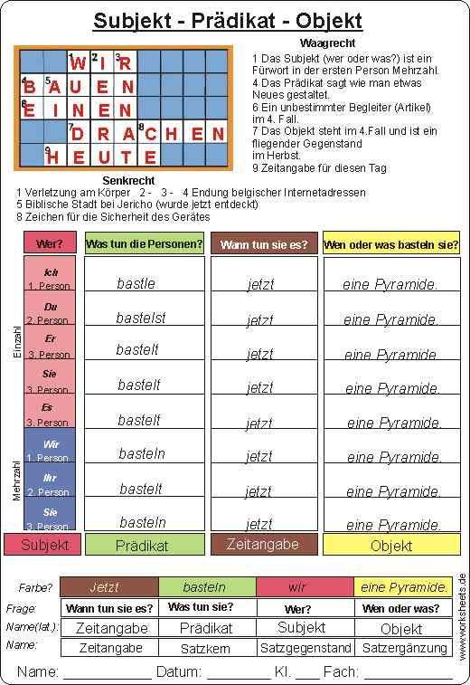 Subjekt - Prädikat - Objekt | schule | Pinterest | Subjekt prädikat ...