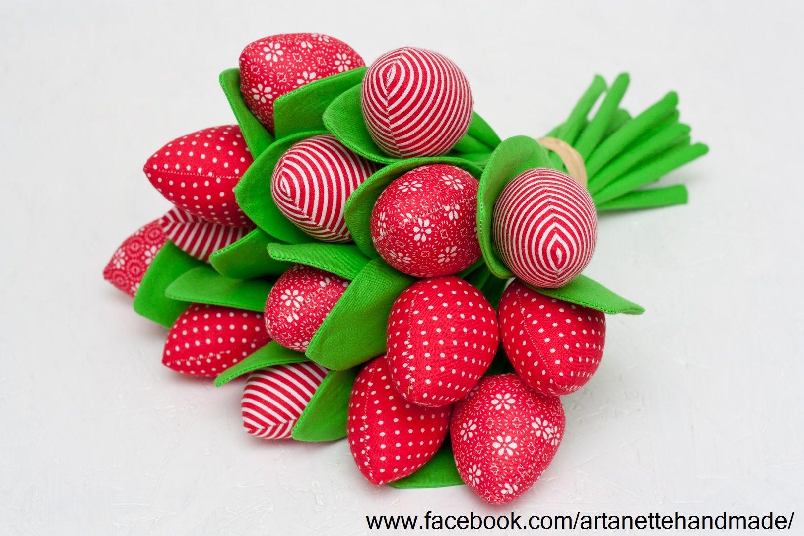 Tulipany Tulipany Z Materialu Kwiaty Z Materialu Bukiet Tulipanow Fabric Flowers Design Fruit Strawberry