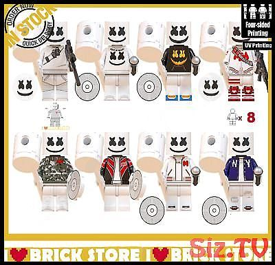 8pcs Custom Minifigure Printed Fortnite Marshmello Minifigures Lego 8pcs Custom Minifigure Printed Fortnite Marshmello Minifigures Lego