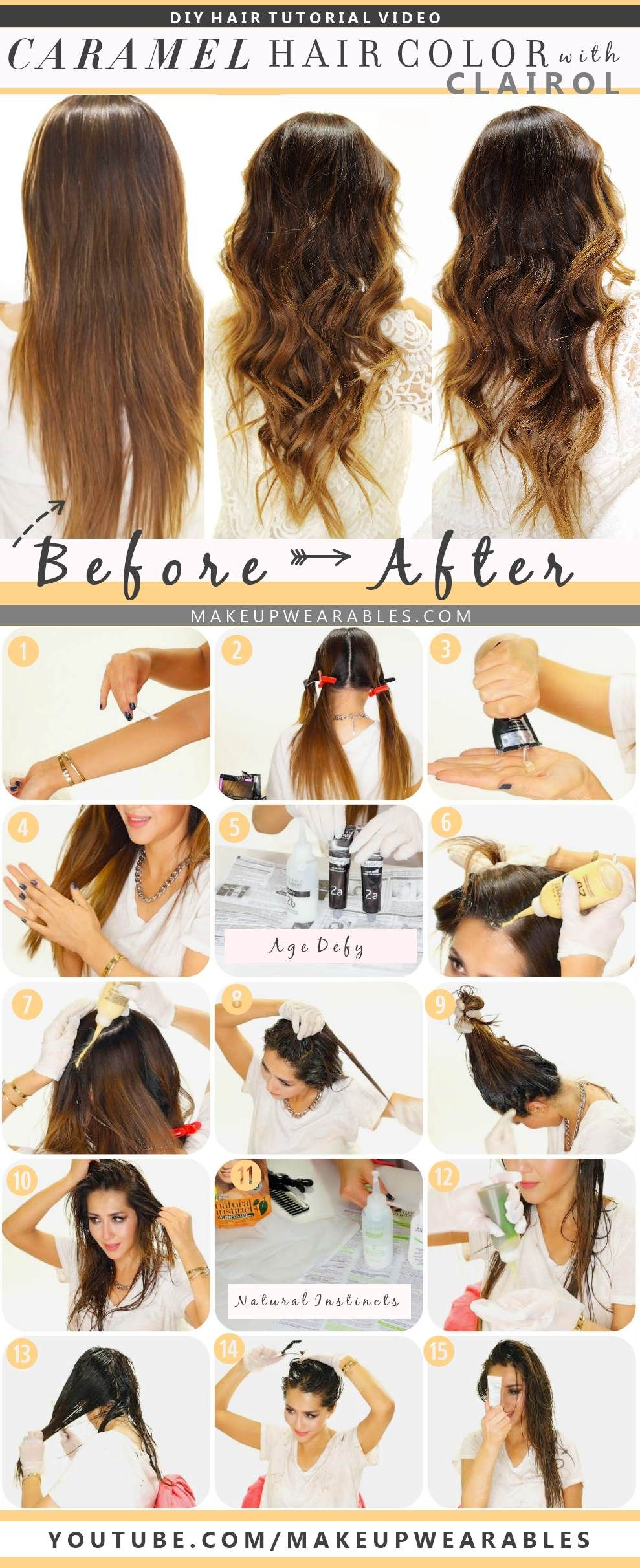 How To Color Hair At Home Caramel Brown Ombre Balayage Hair Caramel Brunette Hair Color Diy Hair Color