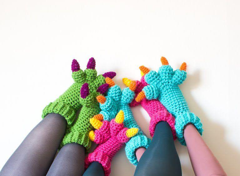 Monster Slippers Crochet Pattern | Hook and Needle | Pinterest
