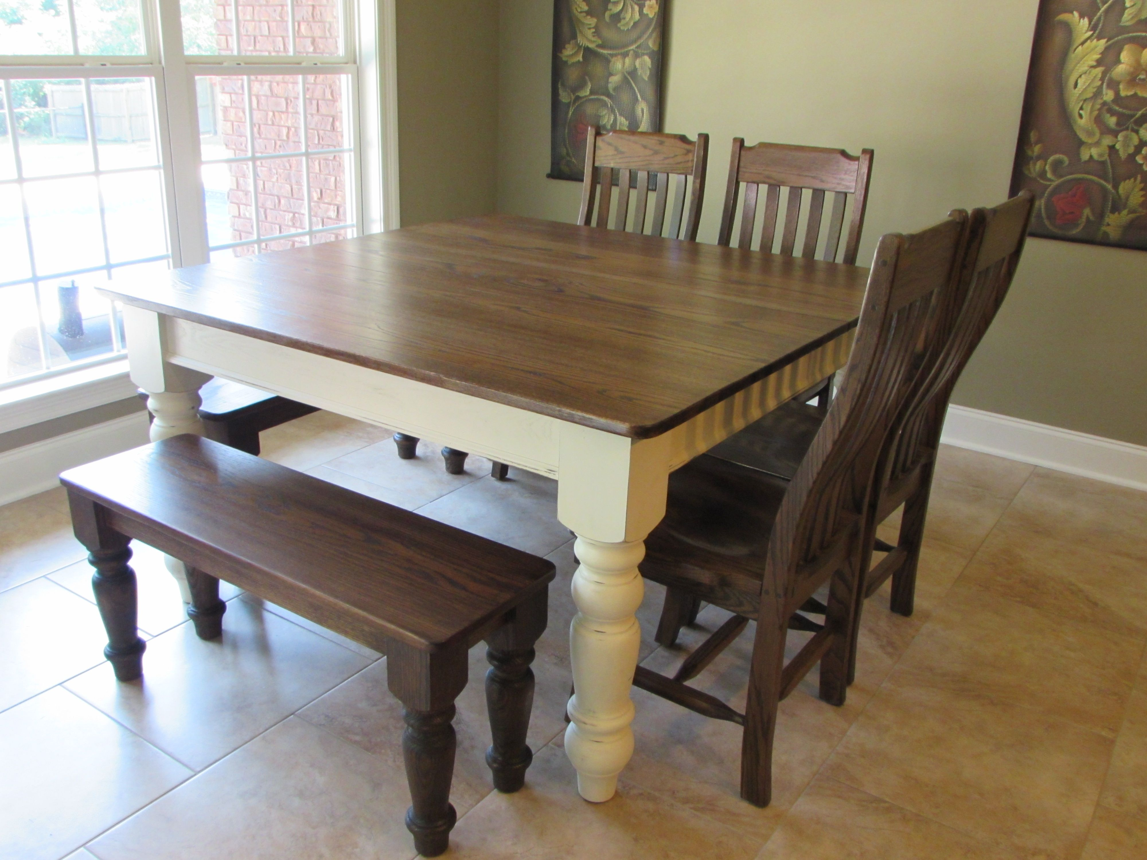 Custom Square Farmhouse Farm Table W Matching Benches Rustic