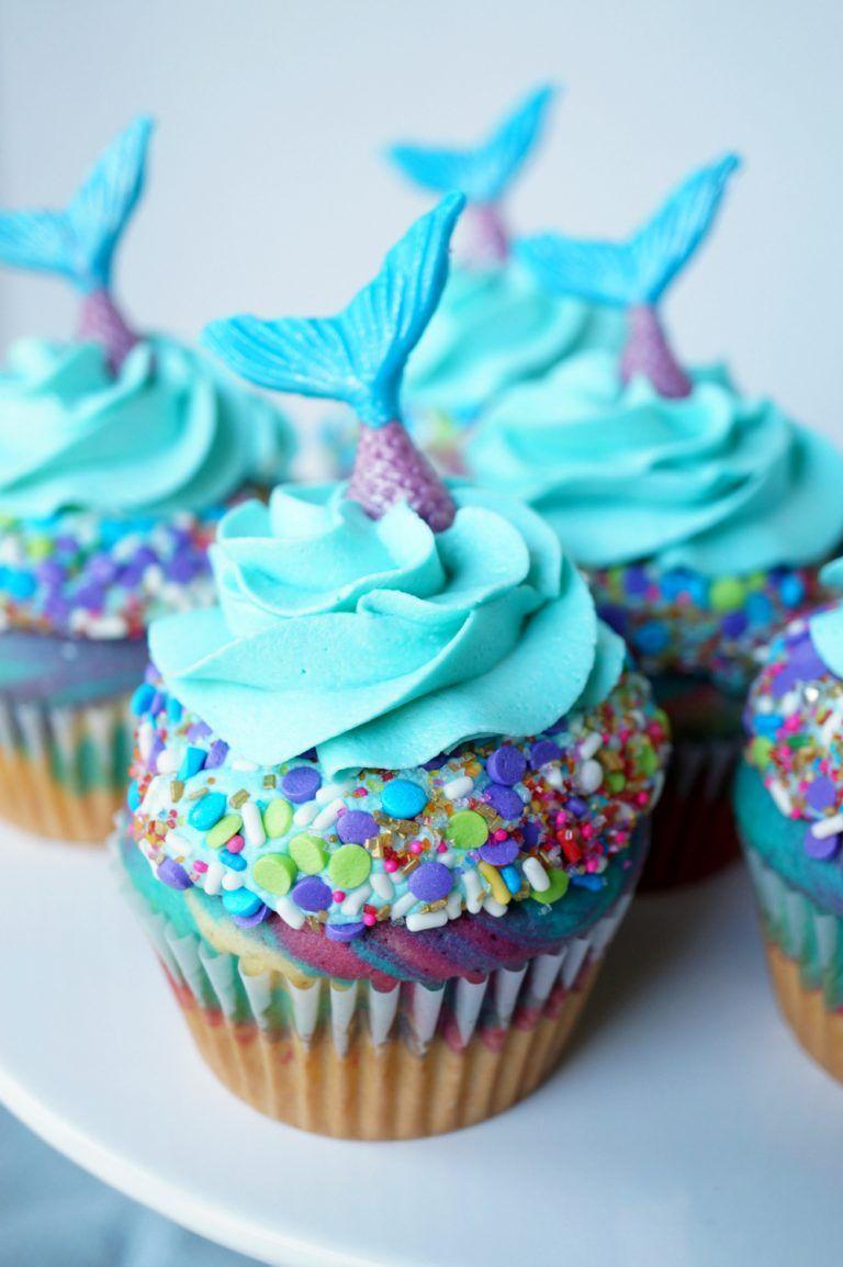 mermaid birthday cupcakes Girl birthday cupcakes, Kids