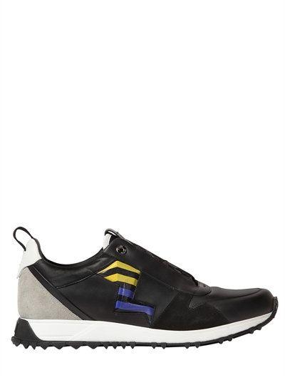 FENDI LIGHTENING LEATHER SPEED RUNNER SNEAKERS, BLACK MULTI.  fendi  shoes   sneakers 56ae6de345