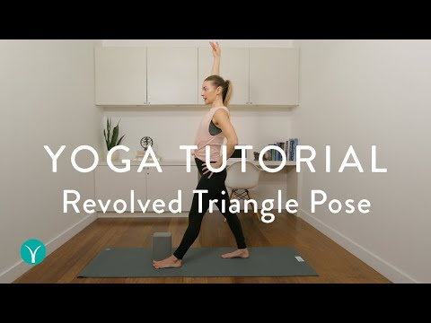 revolved triangle pose — cues and alignment tips yoga