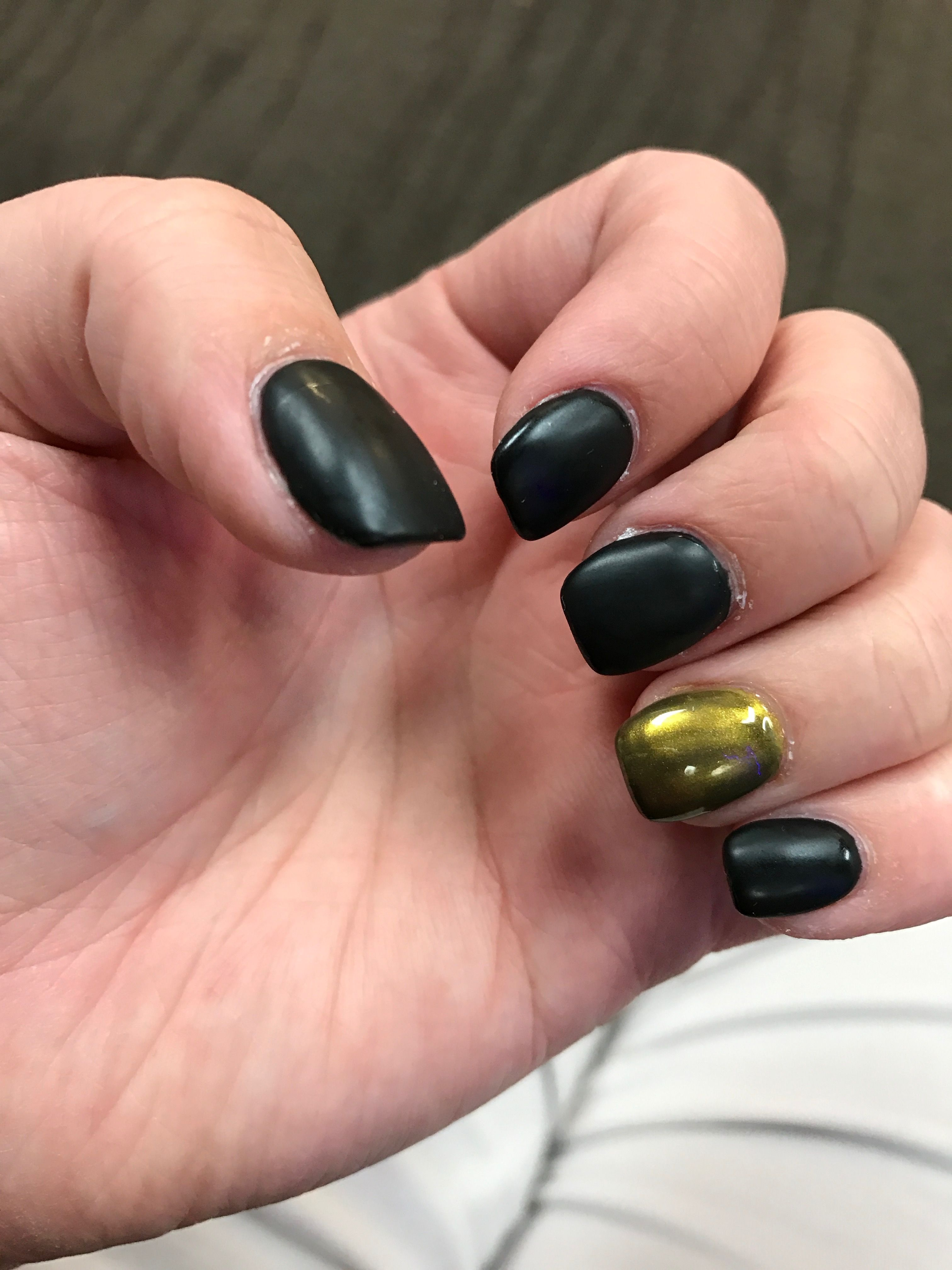 My matte black gel nails with chrome ring fingers!!! | Fascinating ...