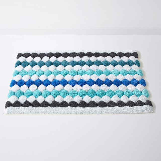 Multi Coloured Bath Mat With Motifs In The Form Of Lines Dots A Lovely And Cosy Graphic Effect For This Soft Thick Colourful