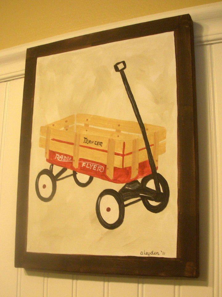 boy kid room decor..baby nursery wall art..original canvas painting ...