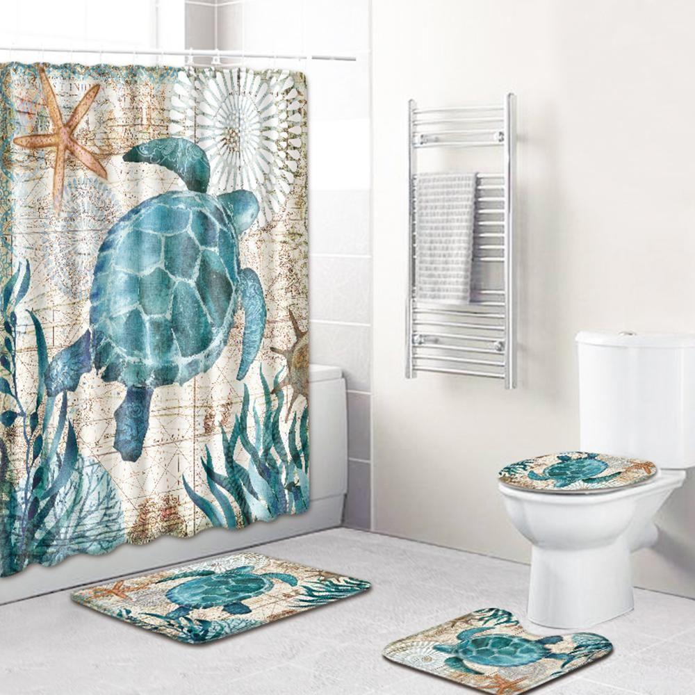 Turtles Pattern 4 Piece Bathroom Set Includes Shower Curtain