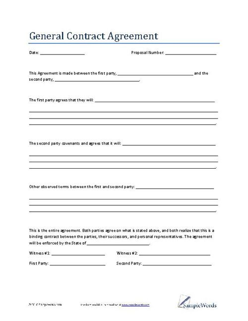 General Contract Agreement Template - Business Contract Contract - Loan Agreement Format