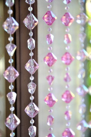 Pink Gemstone Shape Beaded Curtain 8 Feet Beaded Curtains