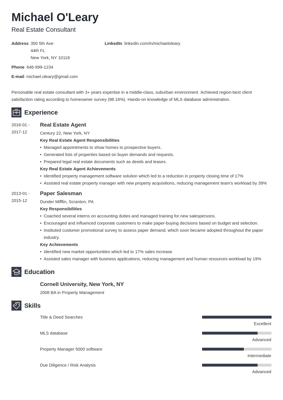 real estate resume example template newcast in 2020