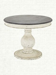 Luca 39 Round Pedestal Dining Table With Bluestone Top In White