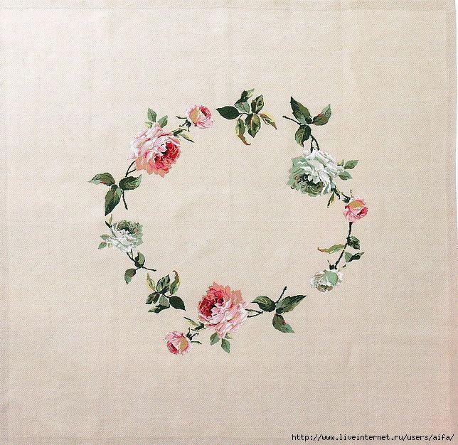 Схема вышивки розы на скатерти