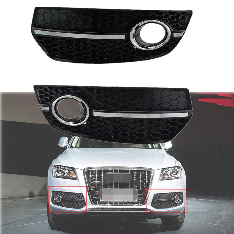 For 2009 2010 2011 Audi Q5 Bumper Grill Honey Comb Style With Chrome Fog Lamp Cover Grilles Lamp Cover Audi Q5 Fog Lamps