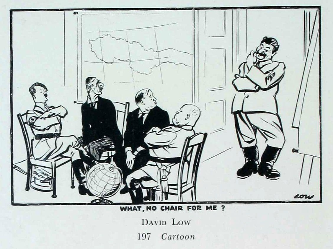 Iron curtain political cartoon - David Low Cartoon Mocking That Stalin Was Not Invited To The Munich Conference A