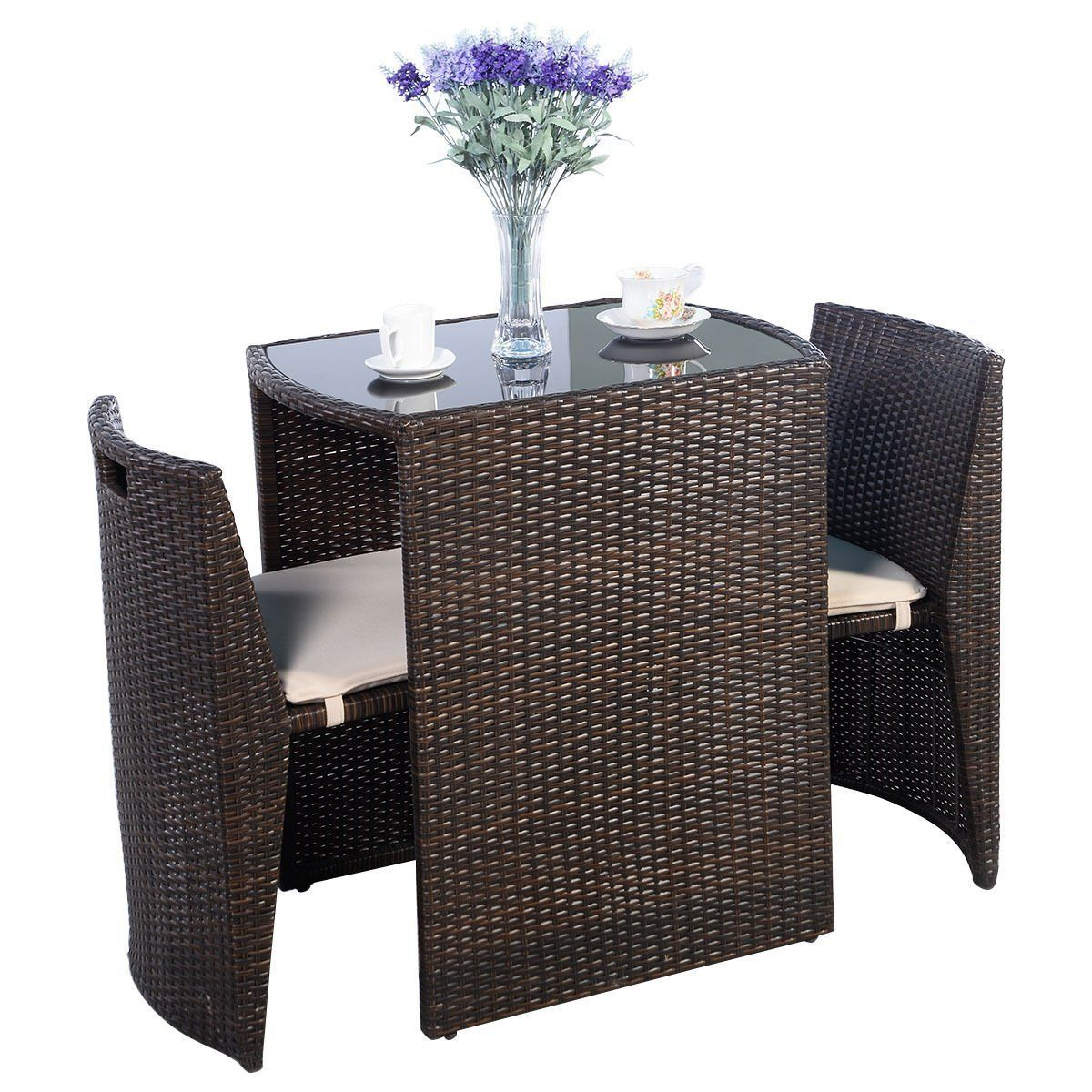 Amazon giantex pcs cushioned outdoor wicker patio set garden