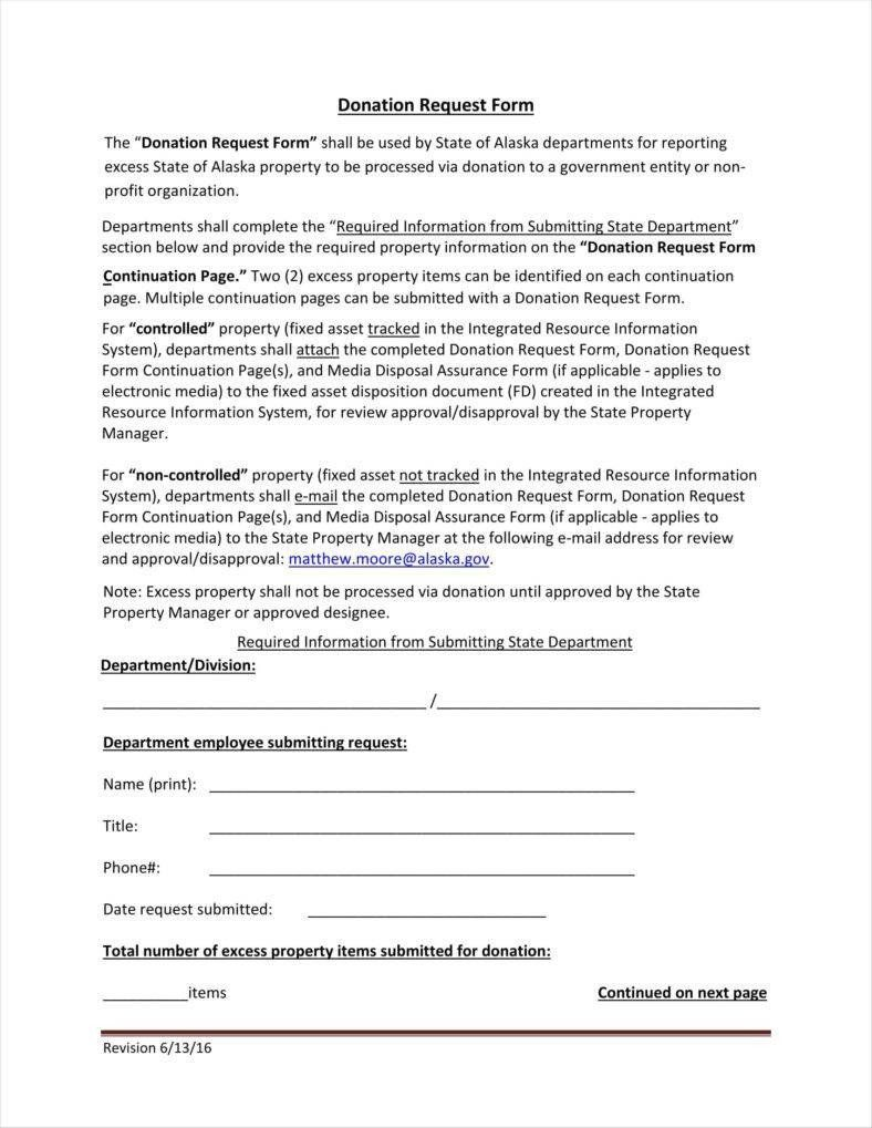 Donation Request Form Template 9 Donation Application Form