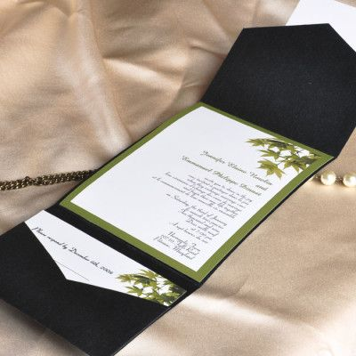 Black And Green Pocket Wedding Invitations With Free